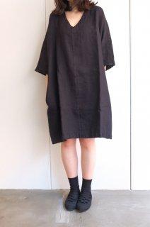 not PERFECT LINEN   washed linen KIMONO tunic (black linen/wool blend/v neck)   着丈90cm