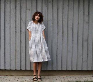 OffOn | short sleeve linen dress (grey stripe) | ワンピース | 着丈90cm