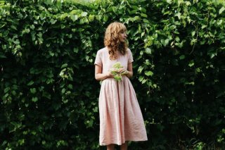 OffOn | short sleeve linen dress (dusty rose) | ワンピース | 着丈90cm