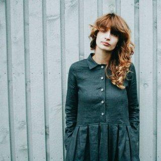 OffOn | long sleeve linen dress (charcoal grey) | ワンピース | 着丈90cm