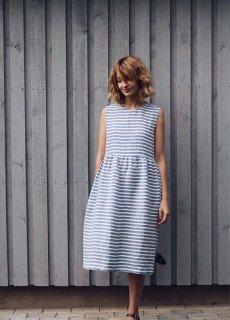 OffOn | sleevless linen dress (blue stripe) | ワンピース | 着丈90cm