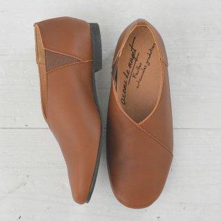 arome de muguet | Leather flat Adele (dark brown) | シューズ