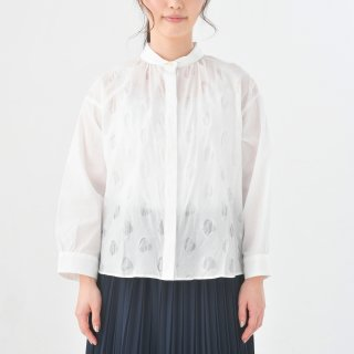 STAMP AND DIARY   ビッグブラウス7分袖 (dot/white)   トップス