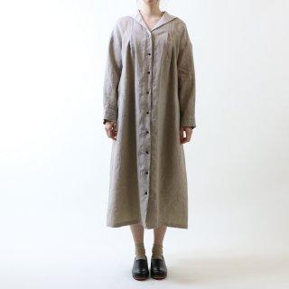 MAGALI | オーバーダイリネン・セーラー襟ワンピース (beige stripe) | ワンピース