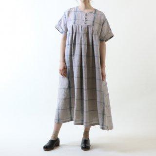 MAGALI | 強撚チェックリネン・ワンピース (blue x grey) | ワンピース