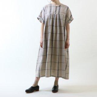 MAGALI | 強撚チェックリネン・ワンピース (black x beige) | ワンピース