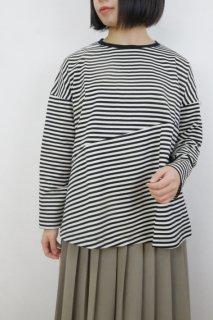 utilite | 長袖フレアープルオーバー (細クロ x 細シロ) | トップス