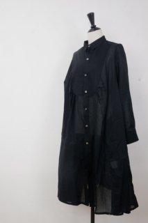the last flower of the afternoon | 揺蕩いの robe shirt (black) | ワンピース【レディース きれいめ シンプル シャツワンピース】