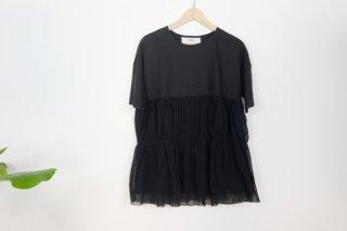 utilite | チュール切り替えプルオーバー (black) | トップス