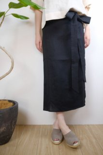 ARCHETYPE | Wrap Skirt (black) | スカート Sサイズ【アーキタイプ 北欧 フィンランド リネン ボトムス】