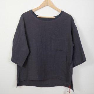 STAMP AND DIARY | 衿リブ胸ポケット付きプルオーバー (チャコール) | トップス【スタンプアンドダイアリー シンプル 無地 ゆったり】