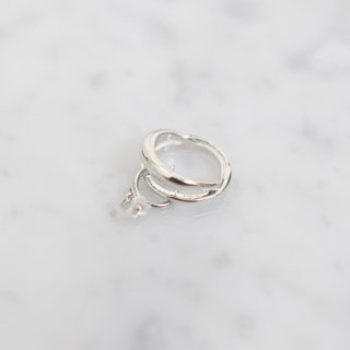 A by song of flowers   Acryl flower ×power stone ring (silver)   リング【アクセサリー イヤリング 天然石 ハンドメイド ギフト】
