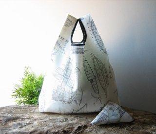 【ネコポス送料無料】ATELIER SETTEMBRE | BOATS DRAWING TOTE BAG (gray) | トートバッグ/ショッピングバッグ