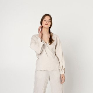 two LINEN | Linen kimono pajamas set short sleeve (small beige stripe)【リネン 麻 ナチュラル パジャマ ナイトウェア】