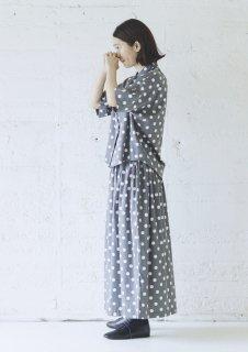 Cion | コットンレーヨンドットスカート (グレー) | ボトムス【ロングスカート かわいい 水玉 レーヨン】