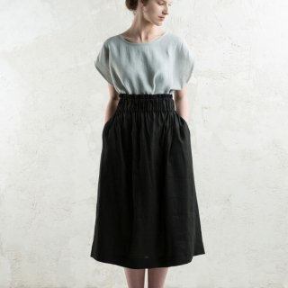 LOVELY HOME IDEA | Long linen skirt (black)【リネン 麻 ナチュラル 半袖】