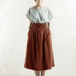 LOVELY HOME IDEA | Long linen skirt (burnt orange)【リネン 麻 ナチュラル 半袖】