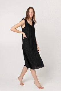 two LINEN | Sleeveless summer dress (black)【リネン 麻 ナチュラル ワンピース】