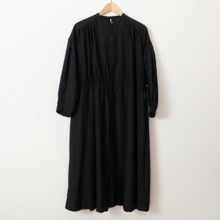 WHYTO. | ギャザーシャツワンピース (black)【送料無料 ホワイト レディース フレア かわいい おしゃれ】