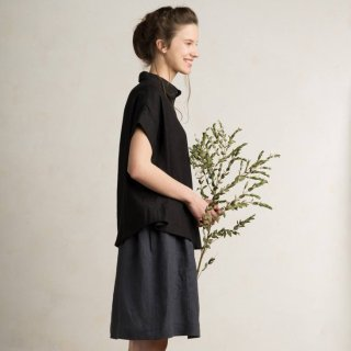 LOVELY HOME IDEA | Loose fit linen short sleeve shirt (black)【リネン 麻 ナチュラル 半袖】