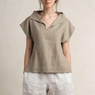 【ネコポス送料無料】LOVELY HOME IDEA | Loose fit linen blouse (flax grey)【リネン 麻 ナチュラル ブラウス】