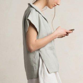 【ネコポス送料無料】LOVELY HOME IDEA | Loose fit linen blouse (dove grey)【リネン 麻 ナチュラル ブラウス】