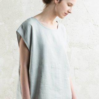 【ネコポス送料無料】LOVELY HOME IDEA | Loose fit linen tops (dove grey)【リネン 麻 ナチュラル ブラウス】