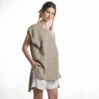 【ネコポス送料無料】LOVELY HOME IDEA | Loose fit linen tops (flax grey)【リネン 麻 ナチュラル ブラウス】