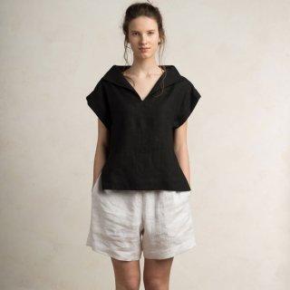 【ネコポス送料無料】LOVELY HOME IDEA | Loose fit linen blouse (black)【リネン 麻 ナチュラル ブラウス】