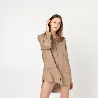 two LINEN | Oversized linen shirt【リネン 麻 ナチュラル ブラウス】