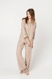 two LINEN | Linen pajamas set long sleeve (beige)【リネン 麻 ナチュラル パジャマ ナイトウェア】