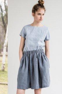 not PERFECT LINEN | Short linen skirt BARI with wide elastic waistband (dark grey)