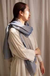 hatsutoki | w-face ストール (ブルー) | Lサイズ【ハツトキ ナチュラル 播州織】