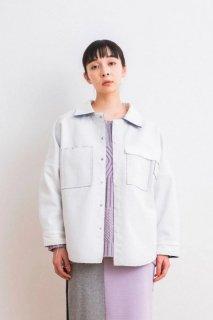 sneeuw (スニュウ) | ボンディングシャツコート (white) | アウター【送料無料 スニュウ カジュアル シンプル ユニセックス】
