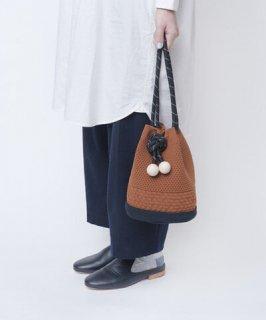 TRICOTE | ゴムアイレットバッグ (brown) | Bag【トリコテ ニット かばん かわいい】