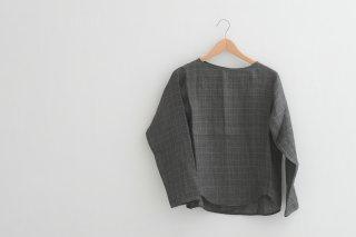MB | Ganclub check linen blouse (charcoal) | リネンブラウス【エムビー 麻 トップス チャコール ナチュラル】