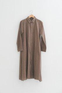 MB | Flannel cotton shirt dress (ベージュ) | ワンピース【エムビー 無地 ナチュラル】