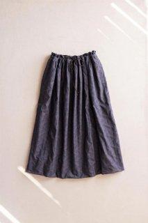 hatsutoki | shadow ギャザースカート (ネイビー) | スカート 【ハツトキ ナチュラル 播州織】