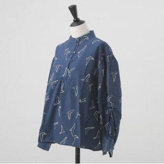 rikolekt | birds ブラウス (navy) | トップス【リコレクト オリジナルテキスタイル 北欧 ナチュラル】