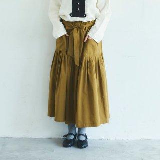 MAGALI | 天日干しコットン・ティアードスカート (mustard) | ボトムス 送料無料 マガリ シンプル スカート