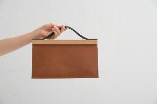 yuruku (ユルク) | Clap Wood Square Hand Bag S (brown) | ハンドバッグ 国産 上質レザー