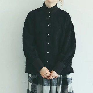 MAGALI   コットンリネン・ドット・ ラッフル・ブラウス (black)   送料無料 マガリ シンプル 長袖