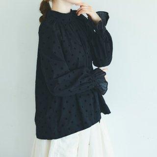 MAGALI   アンティークドット・フリルスリーブ・プルオーバー (black)   トップス 送料無料 マガリ シンプル 長袖
