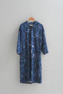 ASEEDONCLOUD | Sailor work dress (Flower blue print) | ドレス ワンピース アシードンクラウド 花柄 送料無料