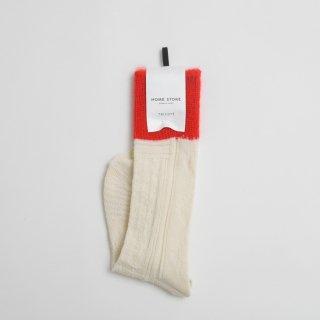 STAMP AND DIARY HOMESTORE x TRICOTE   凸凹ケーブルミックスソックス (off white x red)    スタンプアンドダイアリー トリコテ