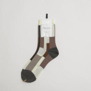 STAMP AND DIARY HOMESTORE x TRICOTE | RANDAM PATCH MAMA SOCKS (beige)  | スタンプアンドダイアリー トリコテ