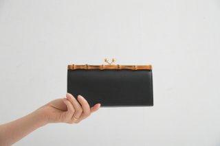 POMTATA (ポンタタ) | BAM ガマグチ ロング (black) | 財布 ウォレット 国産 レザー バンブー 長財布