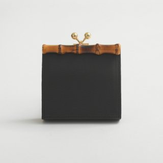 POMTATA (ポンタタ) | BAM ガマグチ ショート (black) | 財布 ウォレット 国産 レザー バンブー