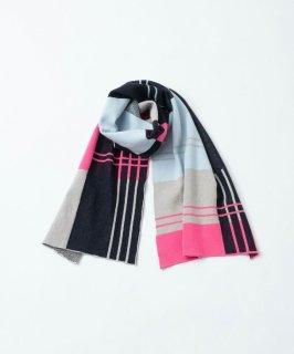 TRICOTE | STRIPE CHECKERD MUFFLER (pink) | 送料無料 マフラー 防寒 トリコテ