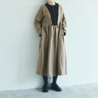 MAGALI   ブラッシュド・ベルギーリネン・ギャザーワンピース (beige)   ワンピース 送料無料 マガリ シンプル 長袖